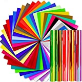 Vinyl Sheets, Ohuhu 50 Permanent Adhesive Backed Vinyl Sheets Set, 40 Vinyl Sheets + 5 Holographic Opal Vinyl Sheets +5 Transfer Tape Sheets, 45 Color 12' x 12' for Valentine's Party Decoration