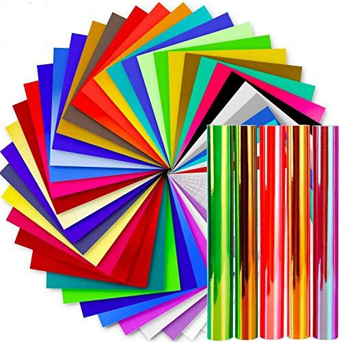 Vinyl Sheets, Ohuhu 50 Permanent Adhesive Backed Vinyl Sheets Set, 40 Vinyl Sheets + 5 Holographic Opal Vinyl Sheets +5 Transfer Tape Sheets, 45 Color 12