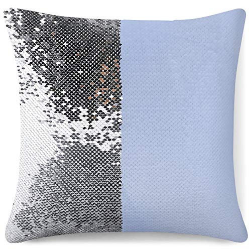 Tamengi Sequin Pillow Cover, Puff Quilted Baby Light Blue Throw Pillow, Zipper Pillowslip Pillowcase, Decorations for Sofas, Armchairs, Beds, Floors, Cars