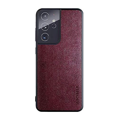 Galaxy S21 Ultra 5G ケース レザー調&TPUカバー スリム シンプル サムスン ギャラクシー S21ウルトラケース アンドロイド スマフォ スマホ スマートフォンケース/カバー[Galaxy S21 Ultra 5G(ワイン)]