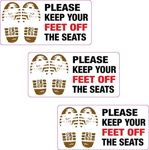 3 X Veuillez garder vos Pieds Off The sièges Autocollant vinyle imprimé Taxi Cab Minibus Pub