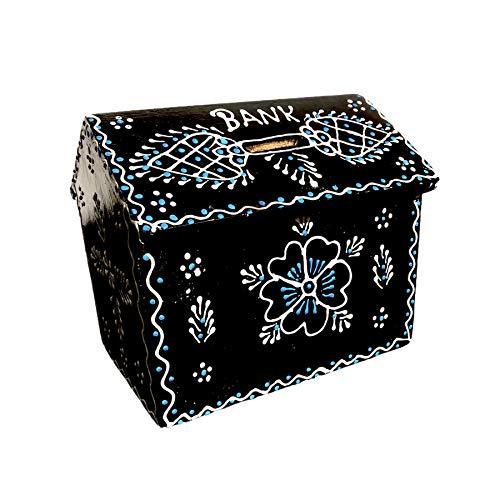 FLEURS DE ROCAILLE Hucha de madera hecha a mano con forma cuadrada, hucha, caja de almacenamiento de dinero, hucha segura con cerradura para todas las edades, regalo para niños | niños | niñas