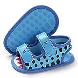 LAFEGEN Baby Boys Girls Summer Sandals 2 Straps Anti Slip Soft Sole Beach Infant Shoes Toddler First Walker Newborn Crib Shoes(3-18Months) 3-6 Months Infant, 004 Blue