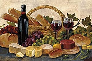 Buyartforless Tuscan Evening Wine Crop with Grapes Cheese and Bread 40x30 Art Print Poster