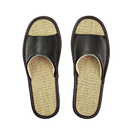 Sandaliaszapatillas De Piel De Oveja Par De Interior Antideslizante Hombres Mujeres Hogar Moda Casual Zapatos Individuales Suelas Primavera Verano-Black_11_Us