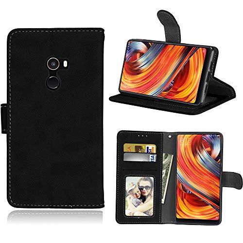 Sangrl Libro Funda para Xiaomi Mi Mix 2, PU Cuero Cover Flip Soporte Case [Función de Soporte] [Tarjeta Ranuras] Cuero Sintética Wallet Flip Case Negro