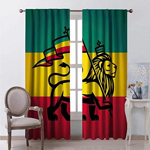 Rasta - Cortina de color resistente al desgaste con bandera de Rastafari con diseño de rey selva reggae (tela impermeable, 84 x 201 cm), color negro, verde, amarillo y rojo