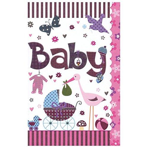 Susy Card verjaardagskaart, 1e Verjaardag/meisje, afmetingen: 17 x 11 x 0, 1 cm Kinderwagen, ooievaar.