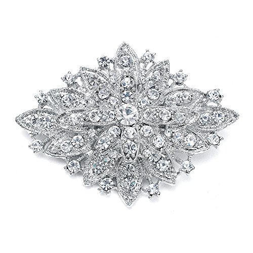 Mariell Vintage Wedding Crystal Bridal Brooch Pin - Stunning Art Deco Fashion - Platinum Plated