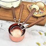 Juego De Cucharas Medidoras Y Tazas Medidoras, Mango De Nogal Juego De Tazas Medidoras Y Cucharas Medidoras De Cobre, Adecuado Para Utensilios De Cocina Domésticos