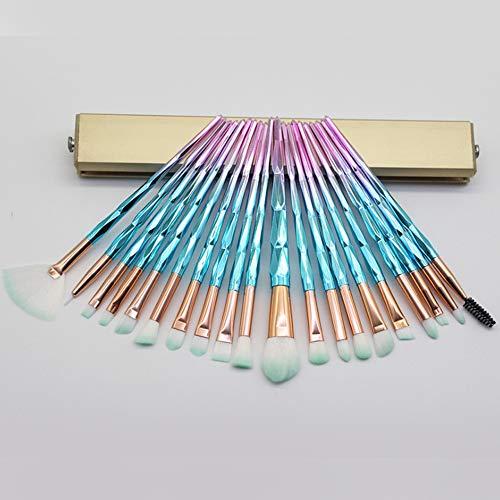 20 Pcs Pinceau Fard À Paupières Professionnel Transparent Maquillage Flash Diamond Outil Pinceau De Maquillage, Rose Vert