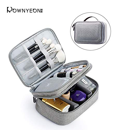 Rownyeon Makeup Train Cases Travel Makeup Bag Waterproof Portable Cosmetic Cases Organizer with Adjustable Dividers for Cosmetics Makeup Brushes Toiletry Jewelry Digital Accessories (Grey Small)