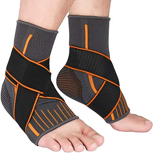 Sprunggelenkbandage 2Pcs Knöchelstütze Sprunggelenk mit Einstellbares Fußbandage Schont und Unterstützt Knöchel für Sport Fußball Fitness Laufen für Damen und Herren