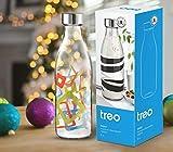 Treo by Milton Ivory Premium Glass Printed Bottle 1000 ml, 1 Pc, Multicolour