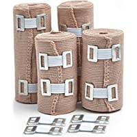 4-Pack Premium Elastic Bandage Wrap Compression Rolls Set