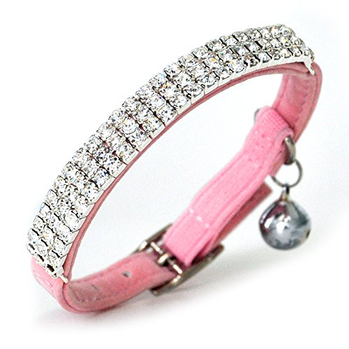 CHUKCHI Soft Velvet Safe Cat Adjustable Collar Bling Diamante With Bells,11 inch for small dogs and cats (Pink) by CHUKCHI