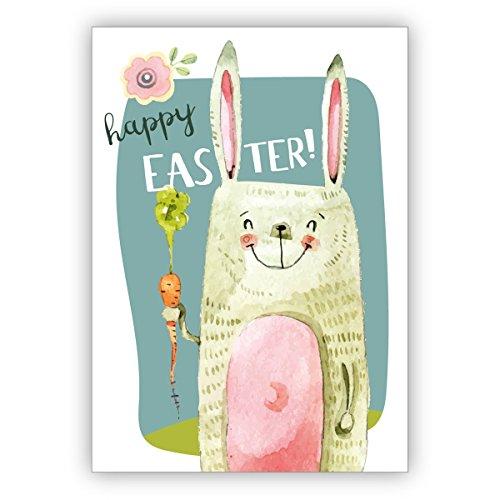 Grappige coole paaskaart met paashaas en wortels voor paastfeest: Happy Easter. • Elegante vouwkaart met envelop als lieve groet voor jou.
