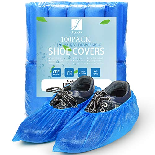 Jagon Shoe Covers Disposable Non Slip - 100 Pack(50 Pairs) Shoe Covers for Indoors Disposable - CPE Waterproof Shoe Covers Disposable - One Size Fit Most Booties for Shoes Covers - Shoe Guards (Blue)