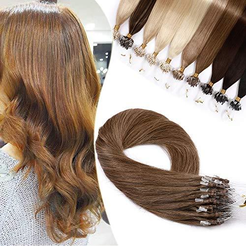 Extension Cheveux Naturel Micro Loop Pose a Froid 1g Rajout Vrai Cheveux Humain 50 Mèches 50g (#6 CHATAIN CLAIR, 18 Pouce/45CM)