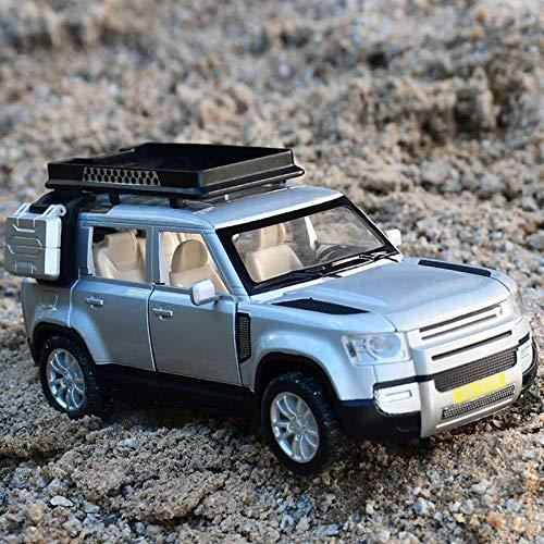 MLKJ Vehículo de Juguete 1:32 para Land-Rover Coche aleación Modelo Juguete Coche Deportivo Modelo Juguete con Sonido y luz Trasera Coche Juguete para niños y niñas Regalo de Coche (Color : Plata)
