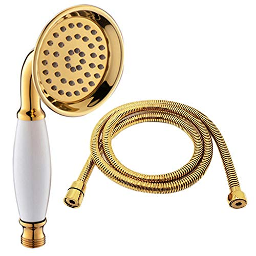 ENGA Vintage Hand-held Shower Rain Sprayer Telephone Shaped Brass Ceramic Shower Head (Gold Finish)