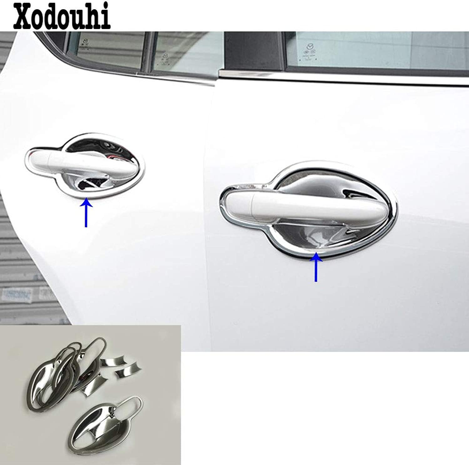 For Mazda CX3 CX3 2017 2018 2019 car Styling Cover Trim ABS Chrome External Door Bowl Stick lamp Frame Moulding 8pcs