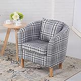 Edinburgh Tartan Fabric Tub Chair Armchair Dining Living Room Office Reception Grey