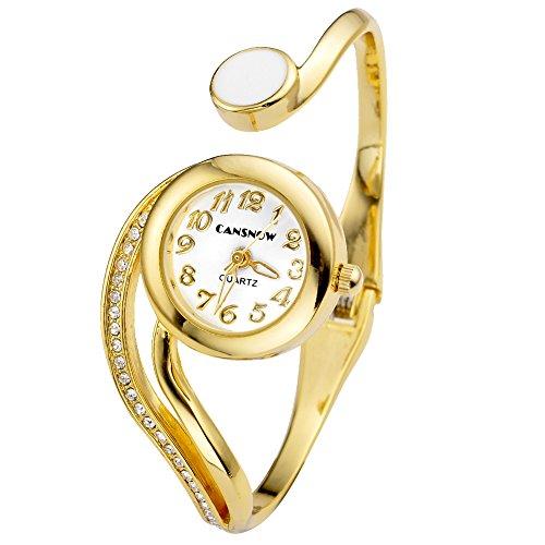 JSDDE Uhren Elegant Damen Spangenuhr Strass Weiss Zeiger Rund Armbanduhr Silber Beuge Design Armreifen Analoge Quarzuhr Kleideruhr für Frauen Damen (Gold)
