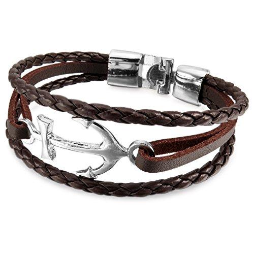 MunkiMix Metalllegierung Legierung Leder Armband Armreifen Kordelkette Braun Silber Ton Anker Segeln Nautisch Herren,Damen