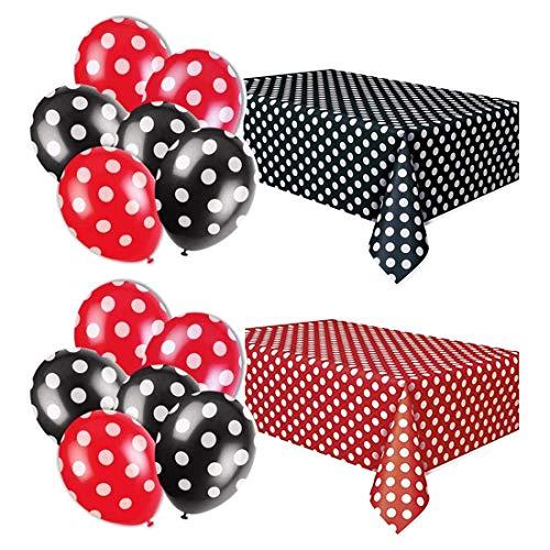 TONIFUL 2 Stücke von Red Black Polka Dot Plastic Tablecloth mit 12 Pcs Red und Black Polka Dot Ballon for Mouse Theme Ladybug Theme Graduation Party Halloween Dekorationen