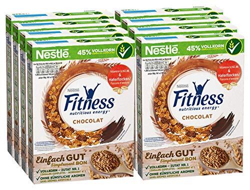 Nestlé Fitness Chocolat, Frühstückscerealien mit Vollkorn, teilweise überzogen mit Schokolade, 8er Pack (8 x 375 g)