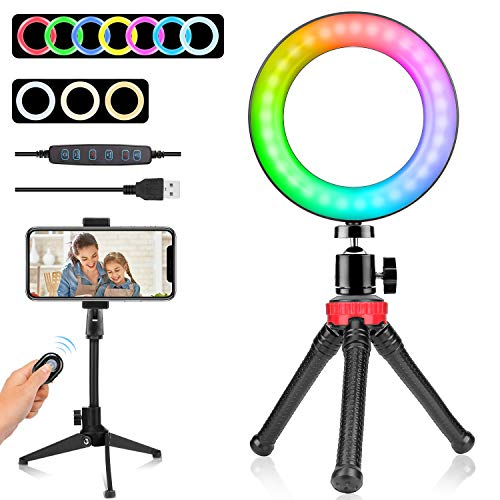 """6"""" RGB Selfie Ring Light with Two Table Tripod Stand, 10 RGB Colors Dimmable LED Ring Light with Wireless Remote Control for Makeup, Vlog/YouTube Video, Live Stream, Photography"""