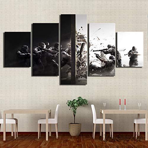HIMFL Segeltuch HD-Druck Rainbow Six Siege Game Bilder Poster Zuhause Dekoration 5 Panel Wandmalerei Für die Moderne Wohnzimmer,A,30×40×2+30×60×2+30×80×1