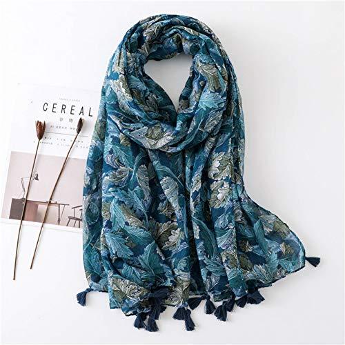 WEIJIQ Winter Schal Für Frauen Impression Leaves Kopftuch Schal Hijab Unique Color Fashion Large Warm Wrap