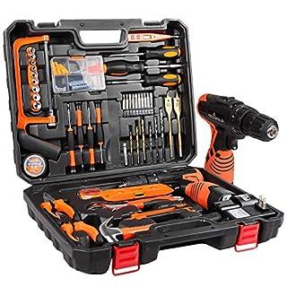 scheda letton kit di attrezzi con trapano avvitatore a batteria 16.8v, 60 accessori set di attrezzi con custodia portaoggetti,kit di riparazione cordless per uso domestico