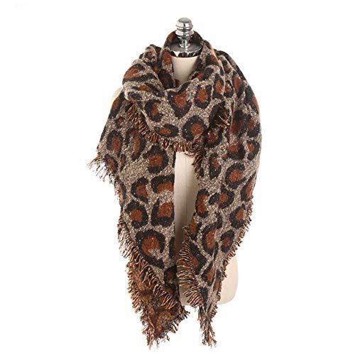 N / E Las mujeres de estampado de leopardo largas bufandas versin coreana otoo e invierno babero seoras celosa crculo de hilo borla de doble uso clido cuello con capucha invierno clido bufanda