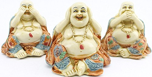 We pay your sales tax 3 Feng Shui Hear See Speak No Evil Happy Face Laughing Buddha Figurine Home Decor Statue Gift/Birthday Gift/House Warming Gift