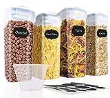 SOLEDI Contenitori per Cereali Dimensione della Famiglia Ermetico Contenitori per Alimenti Senza BPA Riciclabile Facile da Pulire Perfetto per Cereali, Avena, Cheerios, Noci, ECC (Set di 4)