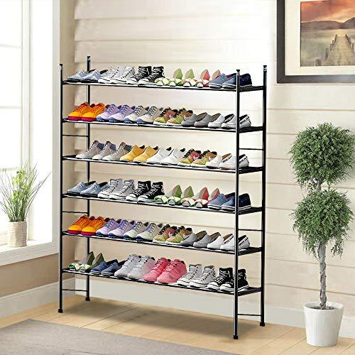 LENTIA Schuhregal Schuhablage ausziehbare Schuhregals aus hochwertigem Metall Schuhständer mit 6 Ebenen Schuhschrank für Wohnzimmer, Ankleidezimmer und Flur schwarz