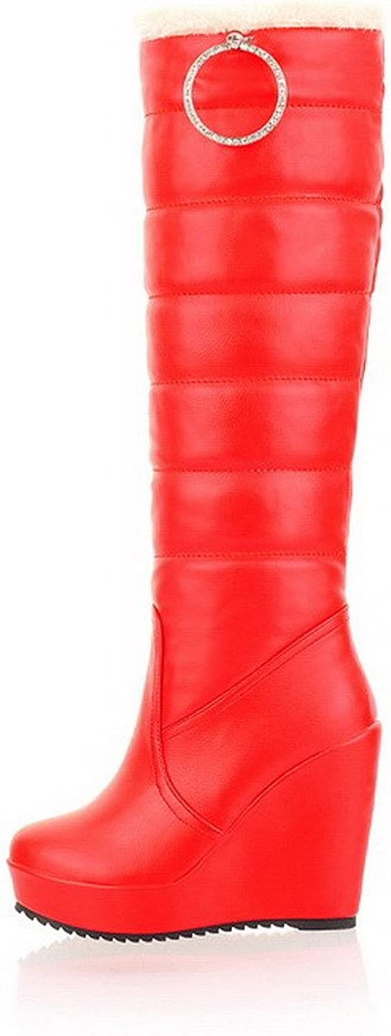 AmoonyFashion Womens Closed Round Toe High Heels Soft Material Solid Boots with Wedge and Metalornament, Red, 7.5 B(M) US