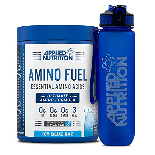 Applied Nutrition Bundle Amino Fuel 390g + Lifestyle Water Bottle 1000ml | Essential Amino Acid EAA Powder Supplement for Muscle Growth, 11g Aminos Per Serving with BCAAs (ICY Blue Raz)