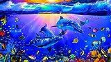 Xykhlj Pintura por números Adulto Animales Tortuga Marina tiburón Peces pequeños Ácido Acrílico Kit Pintura al óleo Adultos Regalo de Sin Marco