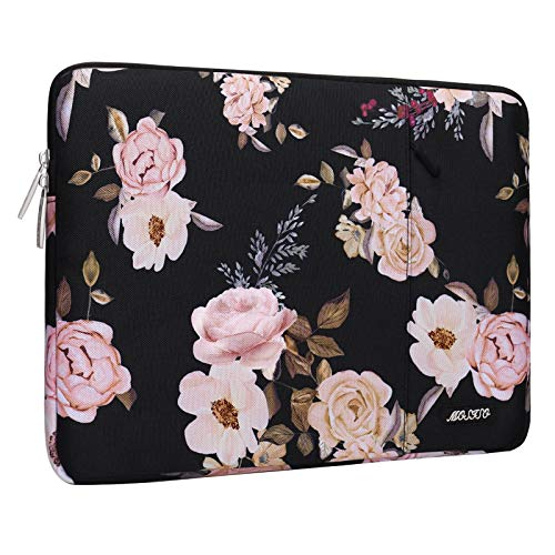 MOSISO Laptop Sleeve Compatible with 13-13.3 inch MacBook Pro, MacBook Air, Notebook Computer, Polyester Peony Vertical Bag Cover with Pocket