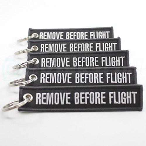 Rotary13B1 Remove Before Flight Key Chain - Dark Gray/White 5pcs