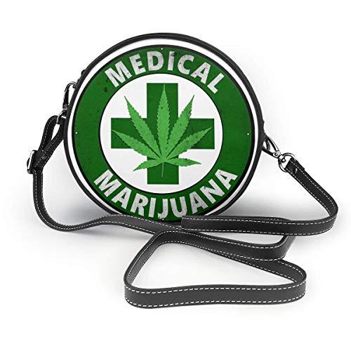 Royal Legacy Marihuana medicinal cannabis mujeres bolso de hombro de cuero redondo bolso de playa cartera