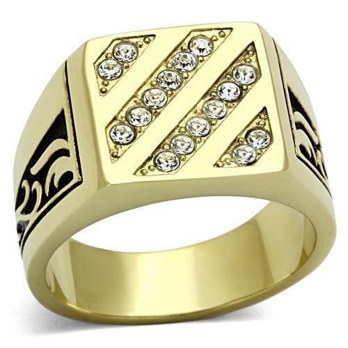 Yourjewellerybox - Anillo con detalle de diamante falso - para hombres - acero inoxidable, talla 28,5 (21,81 mm)