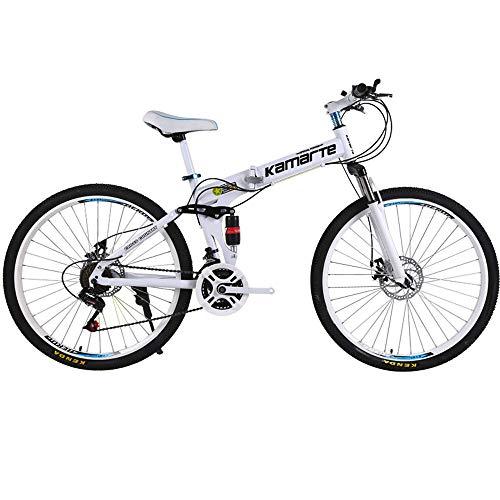 QHTC Mountainbike, Gelände Mountainbike, Erwachsene Person Speichen-Rad-Gebirgsfahrrad Folding Mountain Bike 26 Zoll Fahrrad, 21 Geschwindigkeit,Weiß
