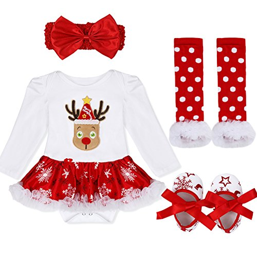 iEFiEL Baby Girls Christmas Costume Bodysuit Headband Leg Warmer Shoes Tutu Dress up Party Outfits (9-12 Months, Snowflake Reindeer)