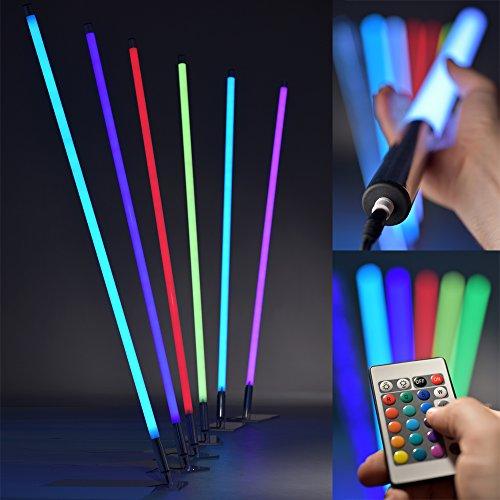 LED RGB Leuchtstab 130 cm mit Fernbedienung - Lichtstab mit 8 Farben & 6 Farbwechsel-Programmen - dimmbare Leuchte niedriger Energieverbrauch max. 19W - Lebensdauer 32.000h - Made In Germany