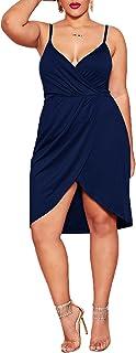 Romwe Women's Plus Size Sexy Wrap Deep V-Neck Split Summer Spaghetti Strap Sleeveless Party Mini Cami Dress